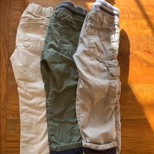 3 pairs of boys size 4 pants, 2 lined, 1 unlined
